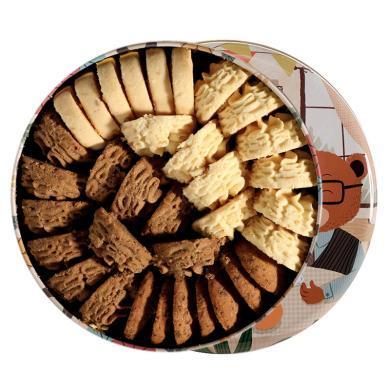 珍妮曲奇小熊饼干咖啡奶油港四味铁盒罐装