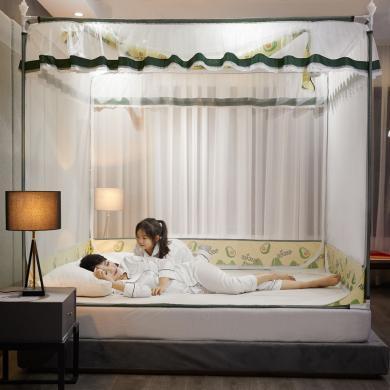 羽芯家纺 新升级包床垫一体式防摔防掉坐床蚊帐 配风扇杆、风扇