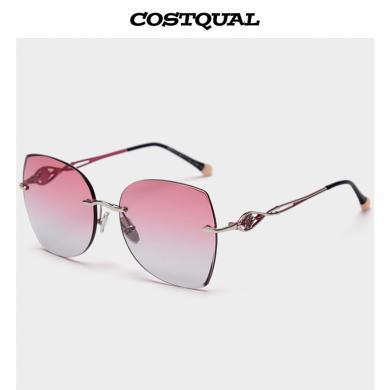 新款無框切邊女士偏光太陽鏡超輕時尚精致司機開車墨鏡