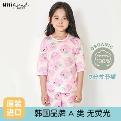 unifriend韩国女童短袖家居服套装纯棉公主女宝宝卡通睡衣薄韩版