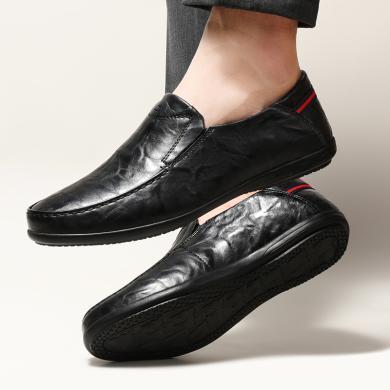 卡帝乐鳄鱼2020春季男士休闲黑色皮鞋真皮软底韩版潮流懒人豆豆鞋5110