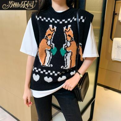 蘇醒的樂園黑色針織衫女裝馬甲春秋季2020新款無袖韓版時尚搭配小衫馬夾線衫SXMJ2O004
