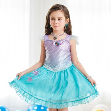 迪士尼愛麗兒美人魚公主裙夏季短袖兒童演出服女童連衣裙生日禮物