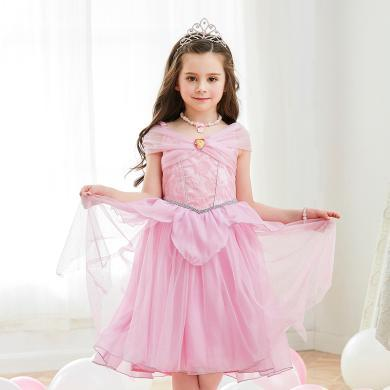 迪士尼愛洛公主裙女公主兒童沉睡魔咒愛洛紗裙連衣裙