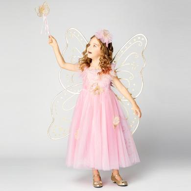 迪士尼蝴蝶仙子公主裙女兒童帶翅膀裙子女童洋氣蓬蓬連衣裙仙女裙