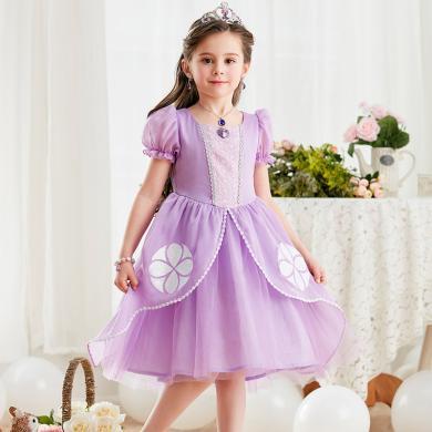 迪士尼小公主蘇菲亞公主裙女童夏季短袖索菲亞連衣裙生日禮物