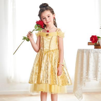 迪士尼貝兒公主裙女公主兒童美女與野獸貝兒公主紗裙連衣