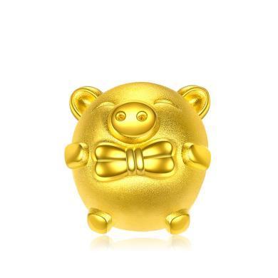 潮宏基领结猪生肖黄金串珠3D硬足金情侣转运珠 金重约1.1g XPG30003257