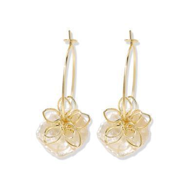盈滿堂 氣質百搭天然淡水珍珠耳釘顯臉瘦耳環女超仙網紅花朵耳飾