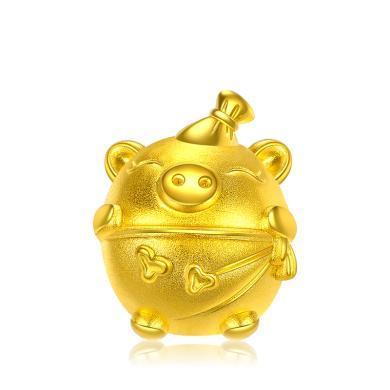 潮宏基宝贝猪生肖黄金串珠3D硬足金情侣转运珠 约1.15g XPG30003256