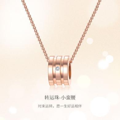 佐卡伊 網紅款小蠻腰套鏈 時尚玫瑰金色鉆石項鏈