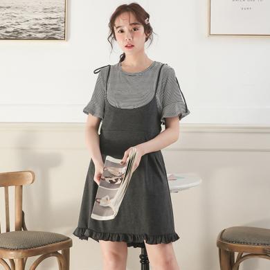 摩登孕妈 哺乳裙夏季新款女装孕妇连衣裙辣妈条纹T恤裙假两件喂奶裙