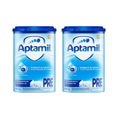 【2罐】德国Aptamil爱他美奶粉Pre段(0-6个月宝宝) 800g/罐