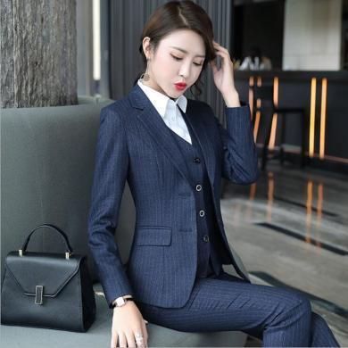 妙芙琳  新款條紋職業白領兩件套氣質修身西裝外套西褲套裝女