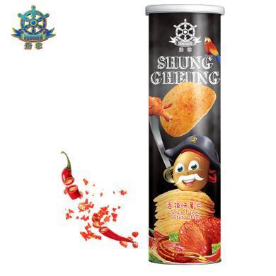 【滿199減100】船掌牌 馬來西亞進口薯片150g*1罐 香辣味 休閑零食膨化食品