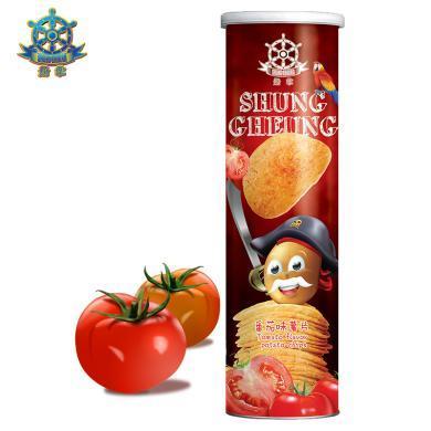 【滿199減100】船掌牌 馬來西亞進口薯片150g*1罐 番茄味 休閑零食膨化食品