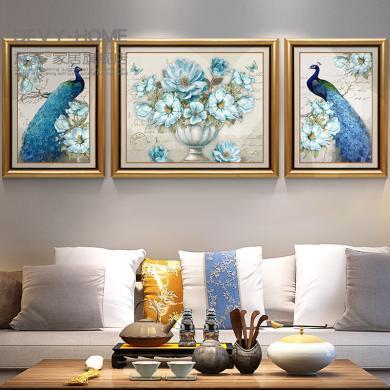 新古典輕奢現代有框孔雀裝飾掛畫歐式客廳餐廳沙發背景墻壁三聯畫裝飾畫