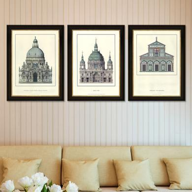 美式有框裝飾畫歐式客廳餐廳玄關背景墻面沙發墻壁裝飾三聯掛畫裝飾畫