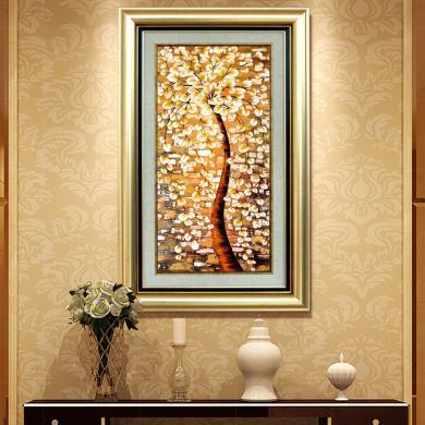 DEVY 歐式客廳玄關書房裝飾畫 美式家居樣板間有框畫壁畫發財樹