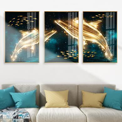簡歐輕奢鋁合金客廳現代裝飾畫三聯壁畫現代沙發背景墻面玻璃掛畫