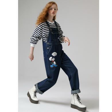 【大力水手联名】初语2020春装新款卡通印花韩版宽松牛仔背带裤女L8016015000