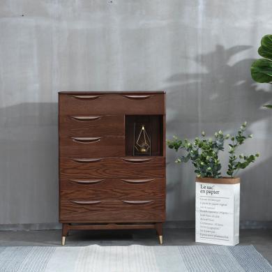 優家工匠 五斗柜 紅橡木抽屜儲物收納柜子 北歐臥室家具 五斗柜