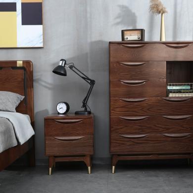 優家工匠 紅橡木雙抽床頭柜簡約北歐臥室家具