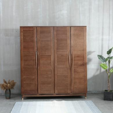 優家工匠 紅橡木衣柜 簡約現代 經濟型雙開門四門收納柜