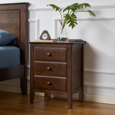 優家工匠 實木床頭柜 簡約現代三抽屜柜歐式美式臥室橡木儲物柜