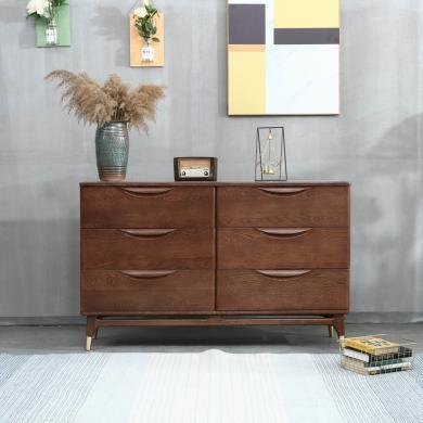 優家工匠 紅橡木斗柜儲物柜 北歐床頭柜 臥室客廳家具紅橡木六斗柜
