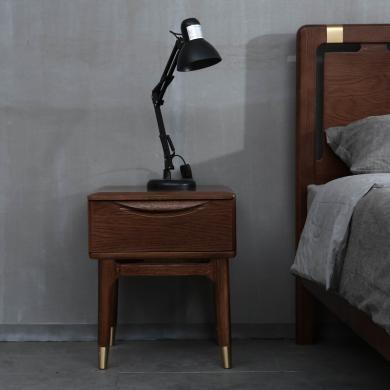 優家工匠 紅橡木單抽床頭柜簡約北歐臥室家具