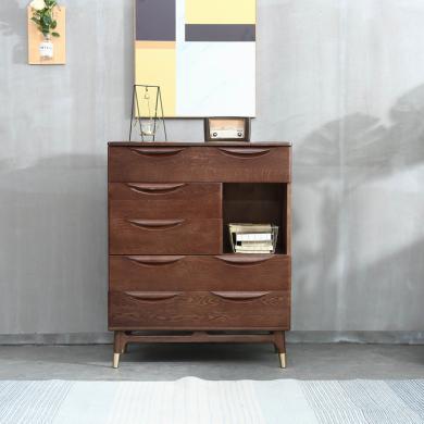 優家工匠 四斗柜 紅橡木抽屜儲物收納柜子北歐臥室家具 四斗柜