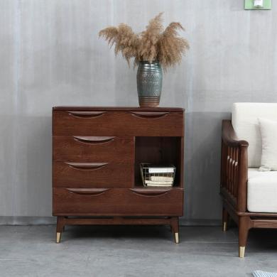 優家工匠 紅橡木簡約床邊三斗柜北歐臥室家具