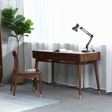 優家工匠 北歐宜家簡約臺式辦公桌紅橡木簡易家用寫字臺 書桌電腦桌