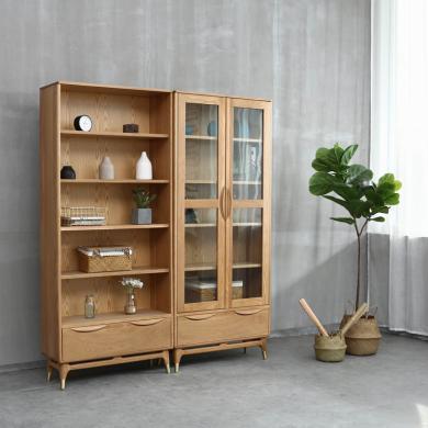 優家工匠 雙門書柜北歐橡木書房抽屜收納柜鋼化玻璃門藏品展示柜