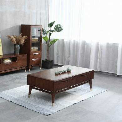 優家工匠 紅橡木茶幾粗腿咖啡桌1.3m簡約帶抽屜客廳家具茶桌新品