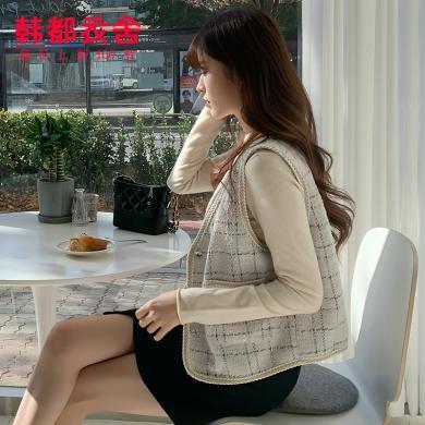 韓都衣舍2020春裝新款韓版女裝單排扣格子小香風馬甲RJ9035樰