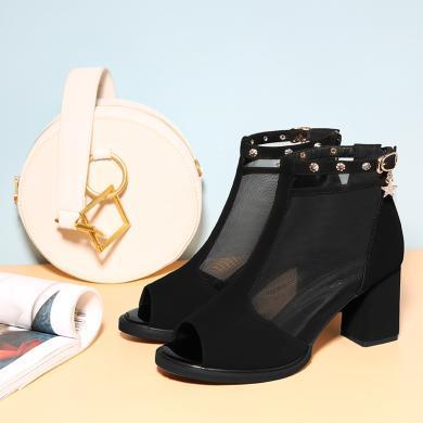 百年紀念 魚嘴粗跟涼鞋后拉鏈網紗設計女鞋 防水臺女鞋子bn2152