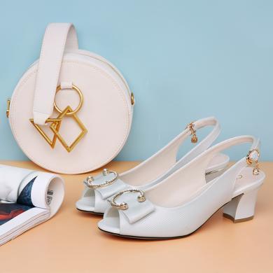 百年紀念   魚嘴粗跟涼鞋后綁帶時尚女鞋魚嘴粗跟防水臺女鞋子bn2135