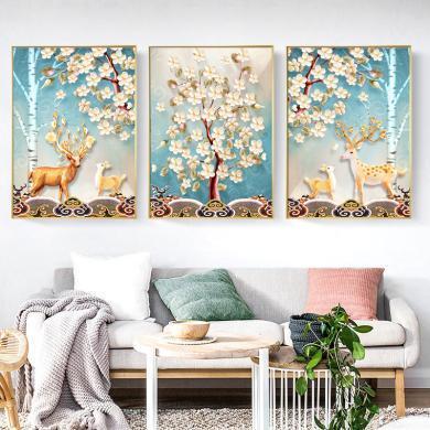 北歐風格客廳裝飾畫現代簡約墻畫餐廳壁畫沙發背景墻掛畫三聯畫裝飾畫