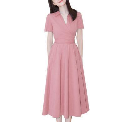 明星同款法式小眾收腰連衣裙2020春夏季新款很仙的修身過膝粉色女神范a字裙