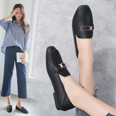 MIJI2020时尚女鞋春夏新款套脚两穿平底单鞋方头奶奶鞋浅口女鞋LC-1193