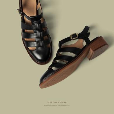 青婉田真皮羅馬涼鞋女新款夏季女鞋包頭涼鞋女中跟復古風鏤空Y20XL1525
