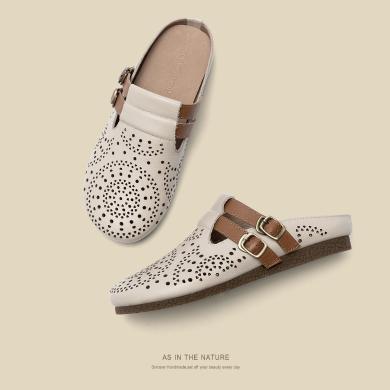 青婉田包頭半拖鞋女外穿新款涼拖鞋穆勒鞋女真皮平底洞洞鞋女T20CD1468
