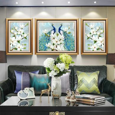 DEVY 客廳裝飾畫新中式沙發背景墻現代簡約壁畫孔雀畫大氣招財墻面掛畫裝飾畫三聯畫