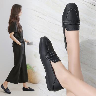 MIJI2020春季新款时尚女鞋套脚两穿平底妈妈鞋单鞋方头奶奶鞋浅口LC-1195