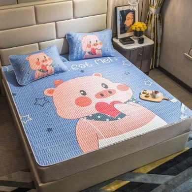 DREAM HOME 凉席三件套大版空调软席 冰丝席卡通图案[含枕套] YJY921777-2