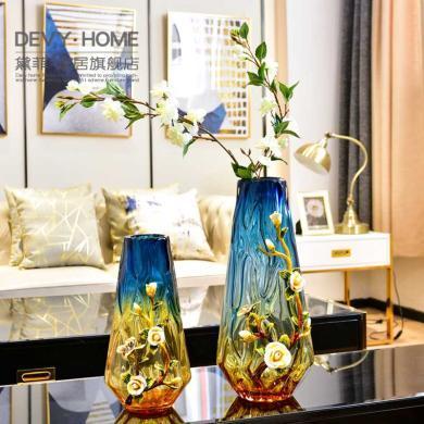 创意珐琅彩玻璃花瓶摆件家居装饰品欧式高端客厅玄关样板房工艺品