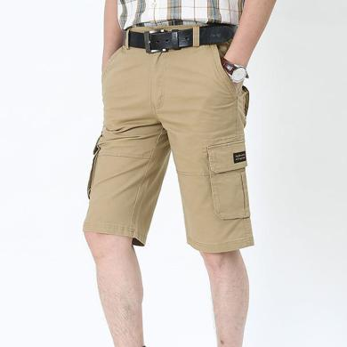 戰地吉圃 男士休閑五分褲夏季新款男裝多口袋工裝褲寬松大碼中褲
