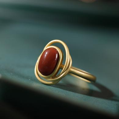 風下Hrfly 天然南紅瑪瑙戒指 幾何形復古時尚指環 925銀鍍金高檔女士款戒指環 滿色南紅 活口